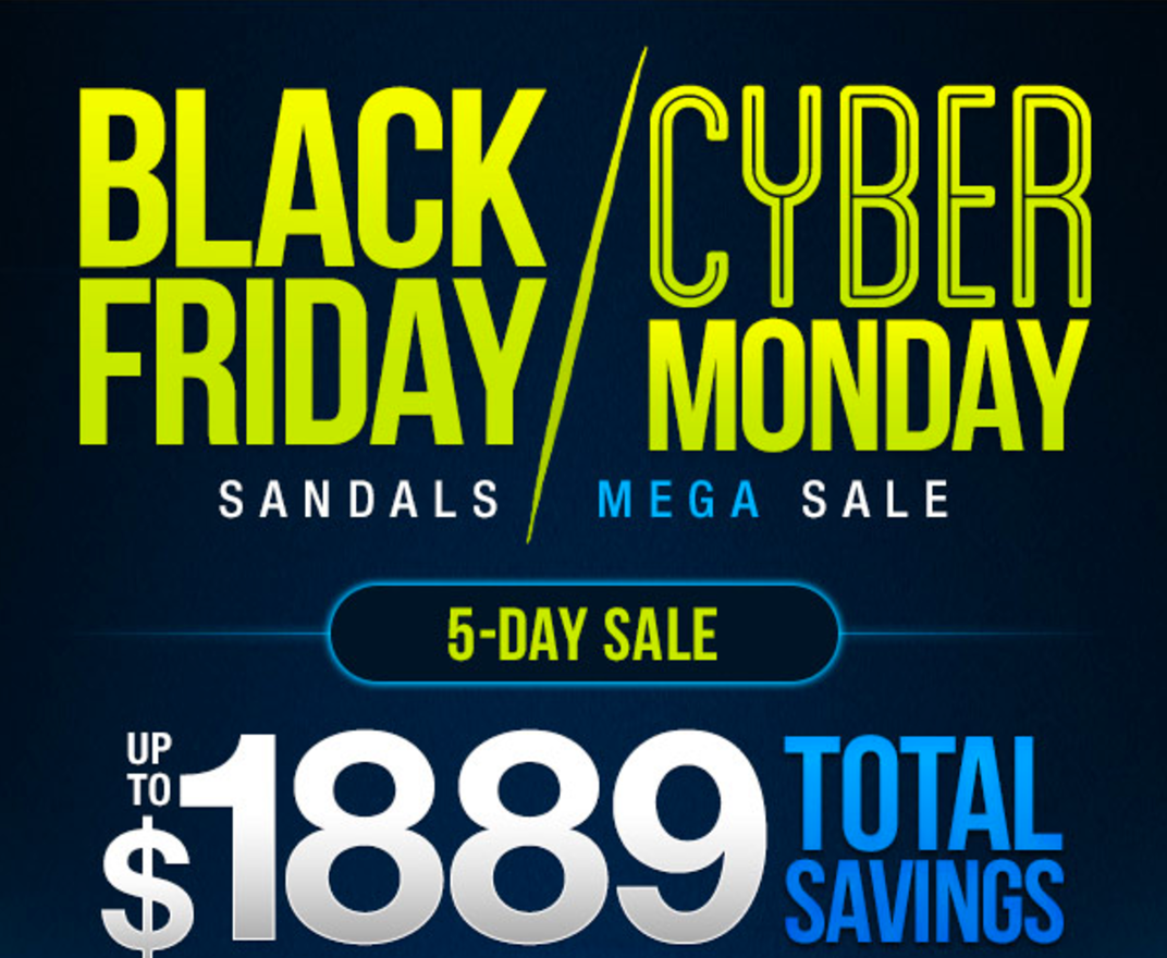 Sandals black friday cyber monday mega sale 2016 promo for Rooms to go cyber monday