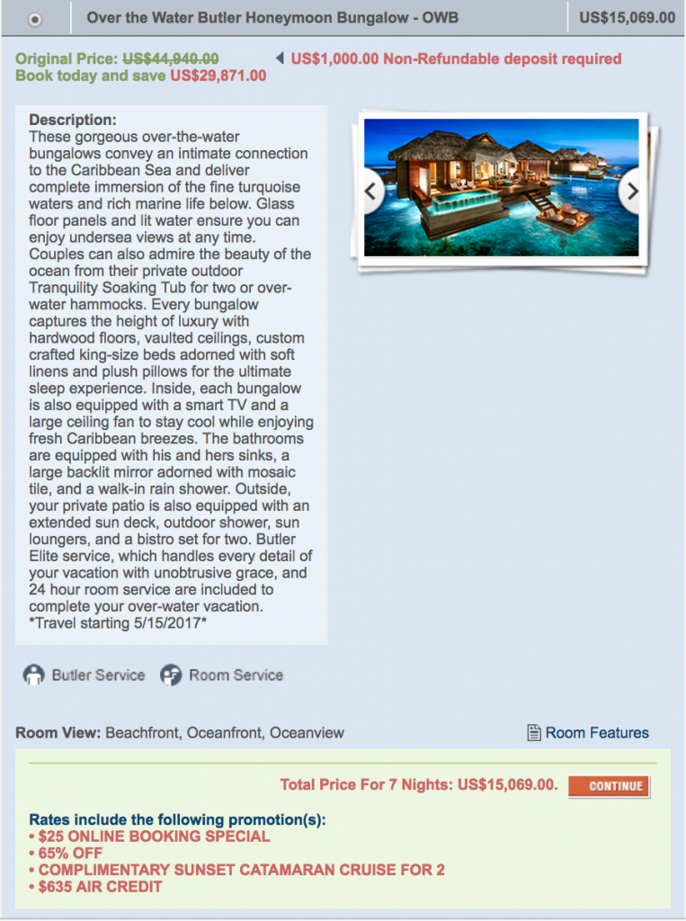 over water bungalow cost