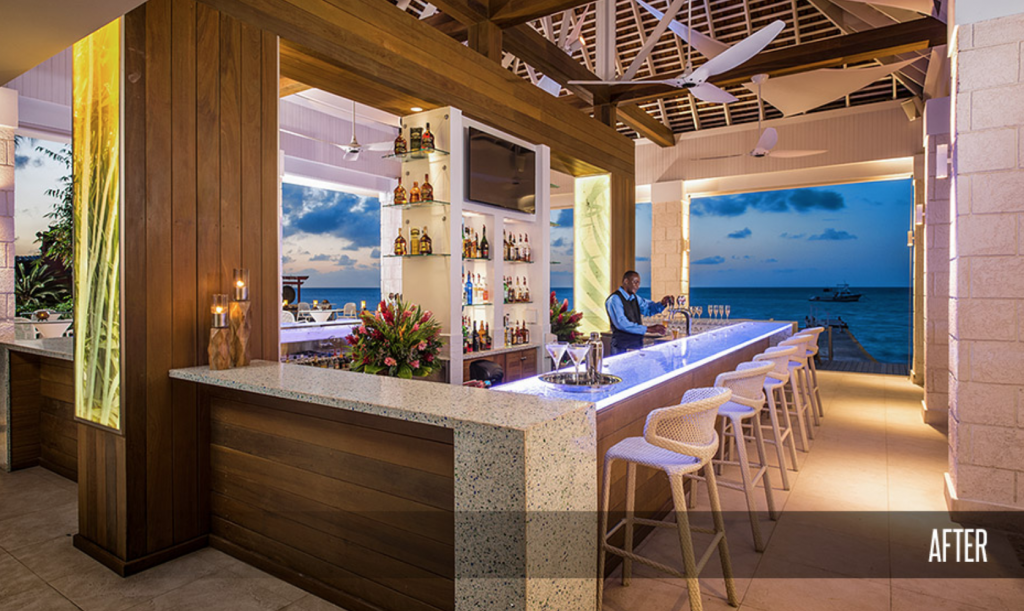 Sandals Montego Bay Resort Main Bar and Fire Pit After