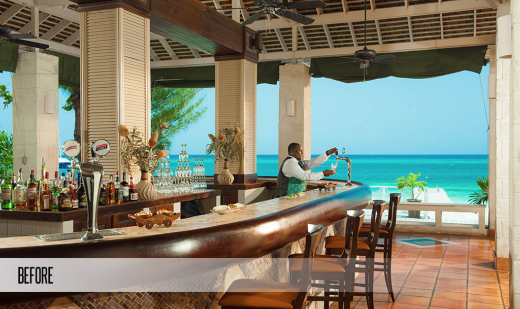 Sandals Montego Bay Resort Main Bar and Fire Pit Before