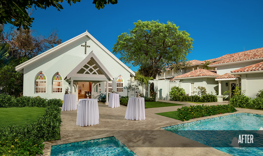 Sandals Montego Bay Resort Wedding Chapel With Fountain After