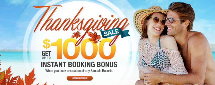 Sandals resorts Thanksgiving Sale