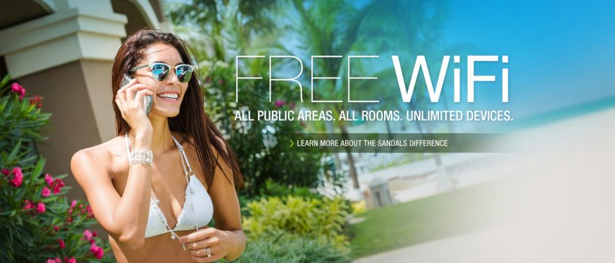 Sandals Beaches Free Wifi